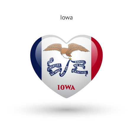 heart of love: Love Iowa state symbol. Heart flag icon.