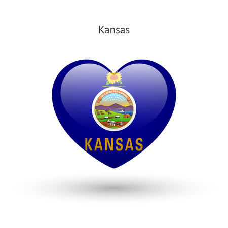 heart love: Love Kansas state symbol. Heart flag icon.
