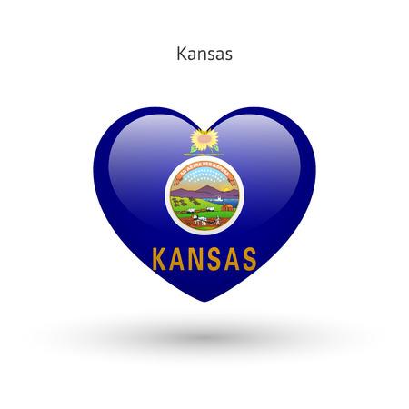 heart of love: Love Kansas state symbol. Heart flag icon.