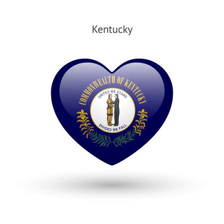 kentucky: Love Kentucky state symbol. Heart flag icon.