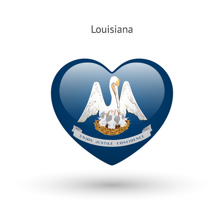 love abstract: Love Louisiana state symbol. Heart flag icon.