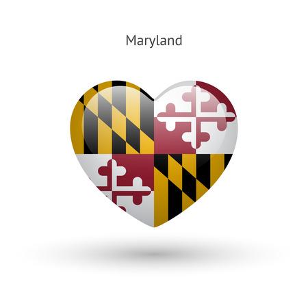 Love Maryland state symbol. Heart flag icon.  イラスト・ベクター素材