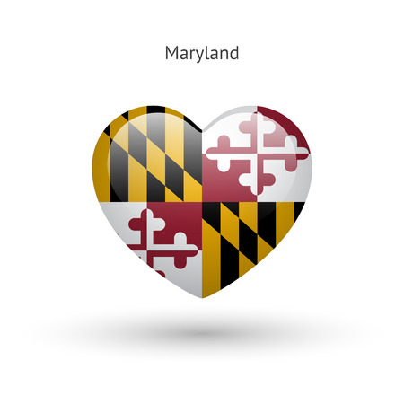 Love Maryland state symbol. Heart flag icon. Vettoriali