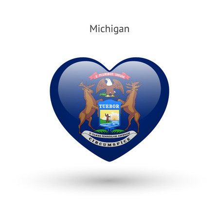 glass heart: Love Michigan state symbol. Heart flag icon. Illustration