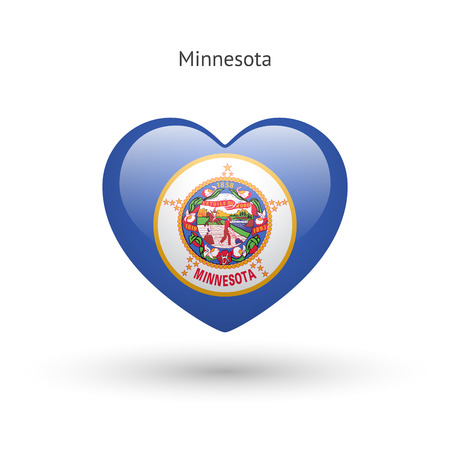 heart love: Love Minnesota state symbol. Heart flag icon.