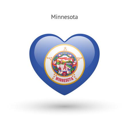 heart of love: Love Minnesota state symbol. Heart flag icon.