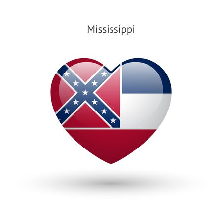 heart in love: Love Mississippi state symbol. Heart flag icon.