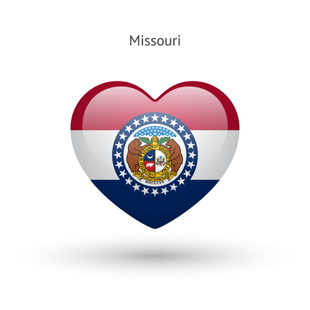 heart love: Love Missouri state symbol. Heart flag icon. Illustration