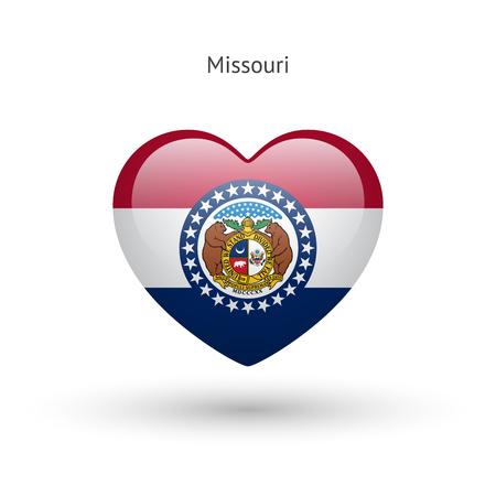 jefferson: Love Missouri state symbol. Heart flag icon. Illustration