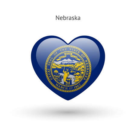 ne: Love Nebraska state symbol. Heart flag icon.