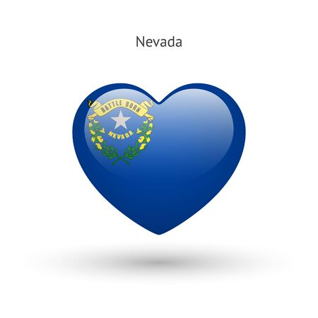 clean heart: Love Nevada state symbol. Heart flag icon.