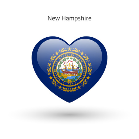 Love New Hampshire State Symbol Heart Flag Icon Royalty Free