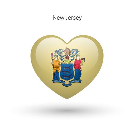 heart in love: Love New Jersey state symbol. Heart flag icon. Vector illustration. Illustration