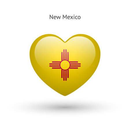nm: Love New Mexico state symbol. Heart flag icon. Vector illustration. Illustration