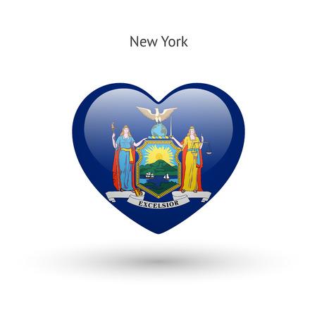 albany: Love New York state symbol. Heart flag icon. Vector illustration.