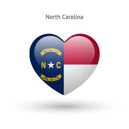 glass heart: Love North Carolina state symbol. Heart flag icon. Vector illustration. Illustration