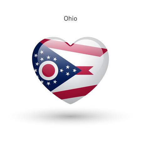 heart of love: Love Ohio state symbol. Heart flag icon. Vector illustration.