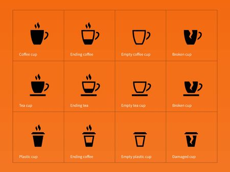 drinking coffee: Coffee mug icons on orange background. Vector illustration. Illustration