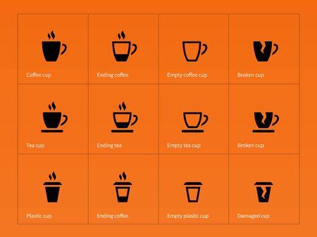 taza cafe: Iconos de la taza de caf� sobre fondo naranja. Ilustraci�n del vector.