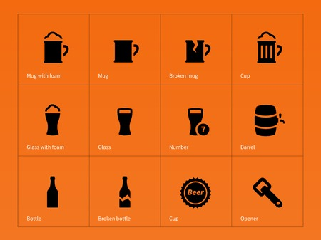 tap: Bottle and glass of beer icons on orange background. Vector illustration. Illustration