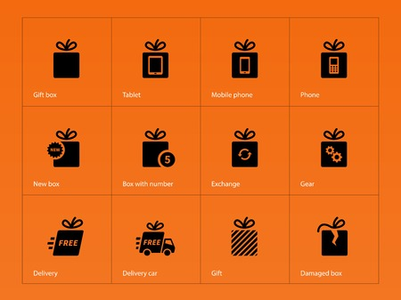gift bags: Presents box icons on orange background. Vector illustration.