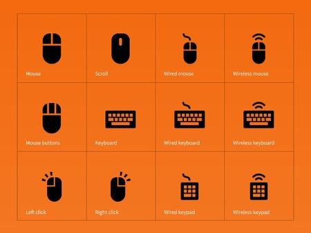 teclado: Ratón y teclado iconos sobre fondo naranja. Ilustración del vector.