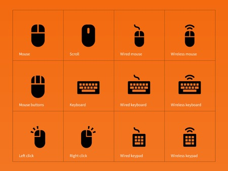 Mouse and keyboard icons on orange background. Vector illustration. Illustration