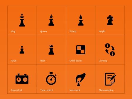 caballo de ajedrez: Ajedrez Figuras iconos sobre fondo naranja. Ilustraci�n del vector. Vectores