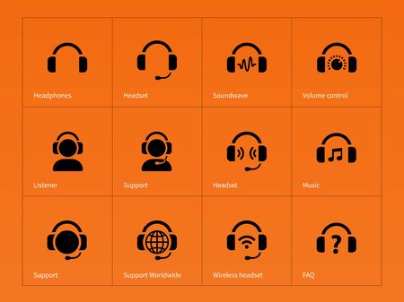 earpieces: Earphones icons on orange background. Vector illustration. Illustration