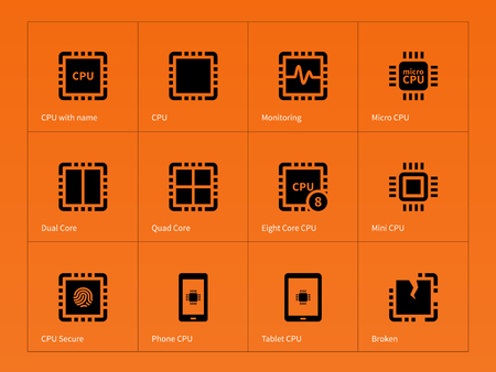 cache: Microprocessor icons on orange background. Vector illustration.