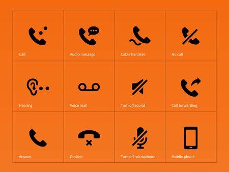 phone handset: Cornetta del telefono e le icone di chiamata su sfondo arancione. Illustrazione vettoriale.