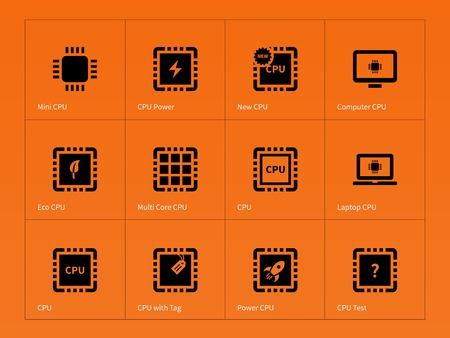 microprocessor: Microchip and microprocessor icons on orange background. Vector illustration.