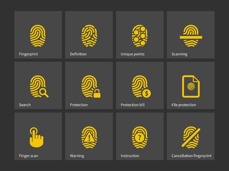 thumbprint: Icone Thumbprint. Illustrazione vettoriale.