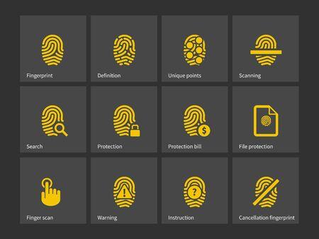 odcisk kciuka: Ikony odcisk palca. Ilustracji wektorowych.