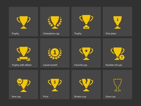 trofeo: Champions Trophy iconos. Ilustración del vector. Vectores
