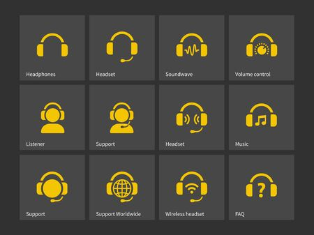 earpieces: Headphones and support icons. Vector illustration.
