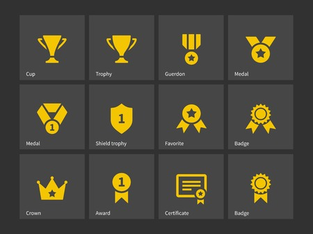 award winning: Trophy and awards icons. Vector illustration. Illustration