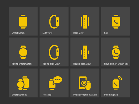 touch screen hand: Smart watch with phone icons. Vector illustration.