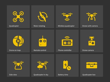 interface icon: Quadrotor with remote control icons. Vector illustration.