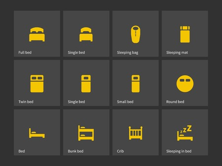 bedroom bed: Double and single bed icons. Vector illustration.