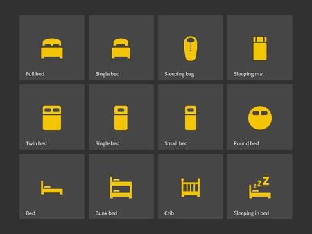 literas: Iconos cama doble y sencillo. Ilustración del vector. Vectores