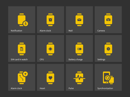 interface icon: Collection of smart watch alarm clock settings icons. Vector illustration. Illustration