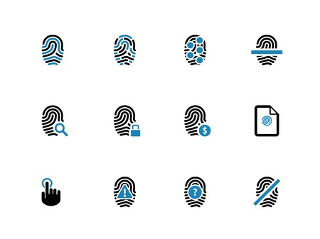 dentification: Security fingerprint duotone icons on white. Vector illustration.