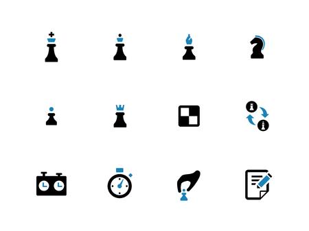 duotone: Chess duotone icons on white background. Vector illustration.