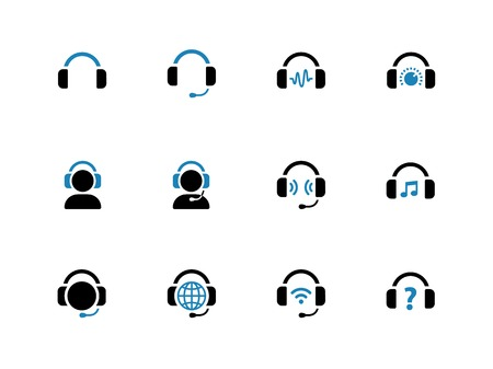 earpieces: Headphone duotone icons on white background. Vector illustration. Illustration