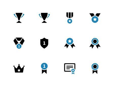 escudo: iconos de dos tonos trofeo en el fondo blanco. Ilustraci�n del vector. Vectores
