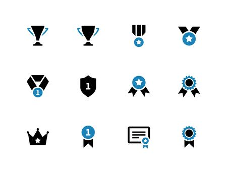 shield: Trophy duotone icons on white background. Vector illustration.