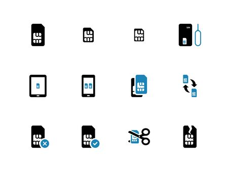 duotone: Mobile communications cards duotone icons on white background. Vector illustration.