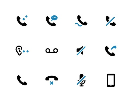 voice mail: Mobile phone handset duotone icons on white background. Vector illustration.