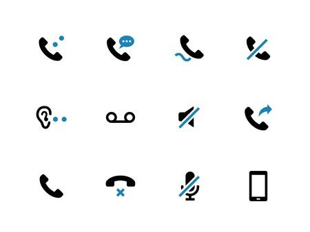 duotone: Mobile phone handset duotone icons on white background. Vector illustration.